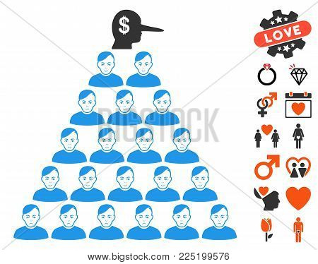 Ponzi Pyramid Manager pictograph with bonus amour pictograph collection. Vector illustration style is flat iconic symbols.