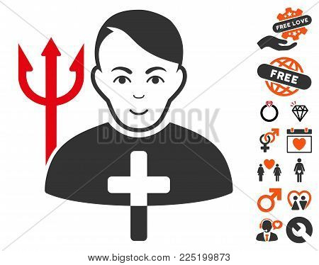 Satan Priest pictograph with bonus amour design elements. Vector illustration style is flat iconic symbols.
