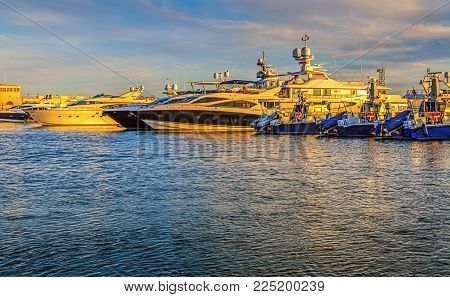 SOCHI, RUSSIA - April 26, 2015: Yachts in the evening light