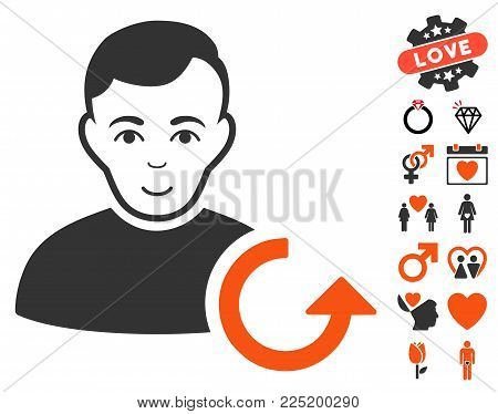 Refresh User icon with bonus amour pictures. Vector illustration style is flat iconic symbols.