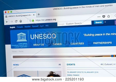 London, Uk - January 4th 2018: The Homepage Of The Official Website For The United Nations Education