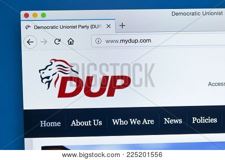 London, Uk - January 4th 2018: The Homepage Of The Official Website For The Democratic Unionist Part