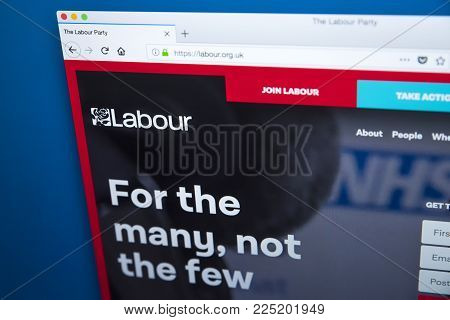 London, Uk - January 4th 2018: The Homepage Of The Official Website For The Labour Party - The Centr