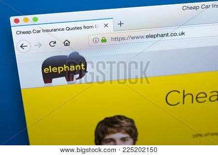 London, Uk - January 4th 2018: The Homepage Of The Official Website For Elephant.co.uk - A Trading N