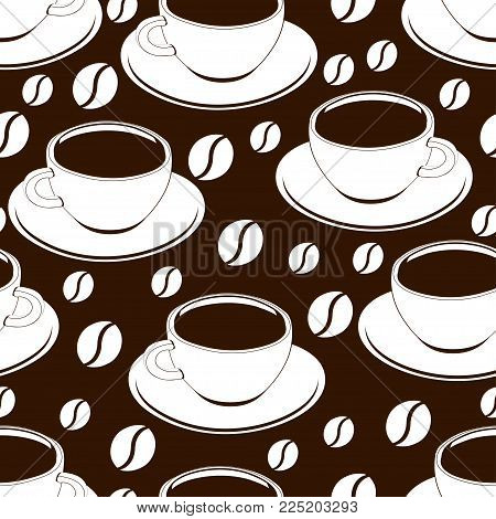 Cup of coffee outline seamless pattern, vector background, coloring, sketch, contour drawing. Drawn cups of black coffee and coffee beans on a brown backdrop. For wallpaper design, fabrics