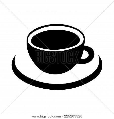 Cup of coffee vector icon, logo, sign, emblem. Black abstract coffee cup and saucer, isolated on white