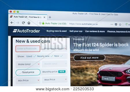 London, Uk - January 4th 2018: The Homepage Of The Official Website For Auto Trader - The Automotive