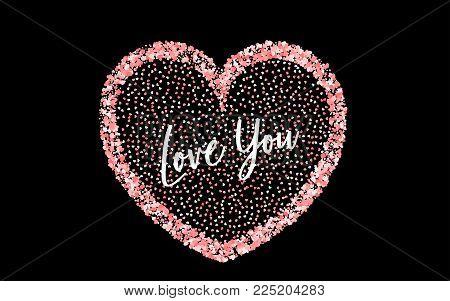 Valentines Day colored confetti paper heart background. Random falling origami. Greeting invitation frame. Vector lettering design illustration. Festive love party element. Carnival decor template.
