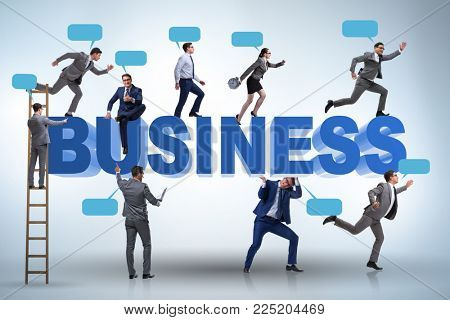 Businessmen in business concept with ladder and bubble callouts
