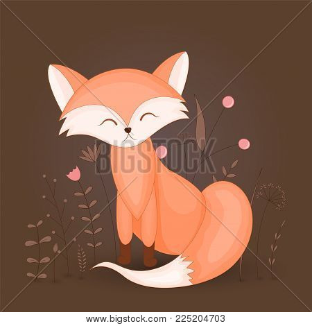 Gift postcard with cartoon animal fox. Decorative floral background with branches and plants. Postcard with cartoon characters. The layout of the square cards