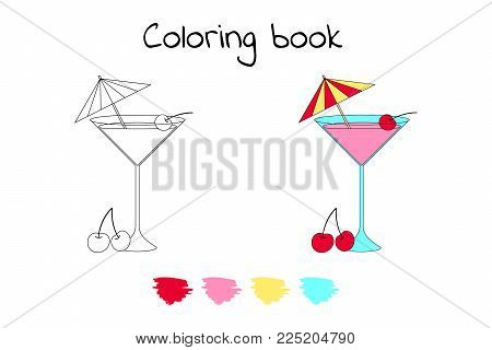 Coloring book for children. Vector illustration. cocktail with cherry and umbrella