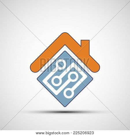 Icon Of Smart Home Automation Assistant. System With Centralized Control. Stock Vector Flat Design S