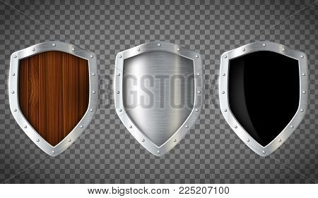 Set Of Military Wooden And Metal Shield. Isolated On A Transparent Background. Stock Vector Illustra
