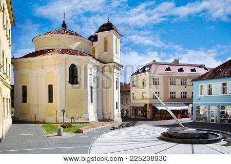 CZECH REPUBLIC, KLADNO - SETP 18, 2015: Saint Florian chapel by arch. Dientzenhofer, historical town center of town Kladno, Central Bohemia, Czech republic