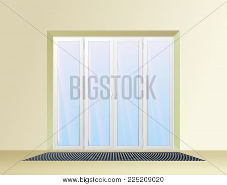 Trench convector under the balcony door. Heating system vector illustration.