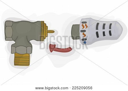 Thermostatic valve for the heating system vector. House energy saving. Green technology. Vector illustration.
