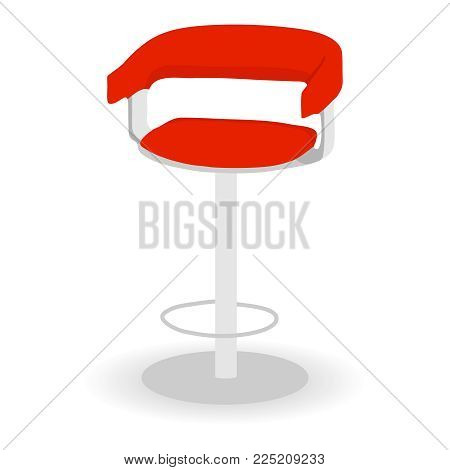 Bar Stool With Back. Red Bar Stool. Flat Design, Vector Illustration, Vector.
