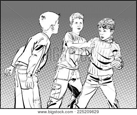 Hooligan boys. Teen Boys In Fist Fight. Fighting boys.Vector illustration isolated on background.