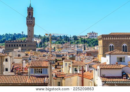Cityscape of Florence in Italy, featuring red terracotta roofs