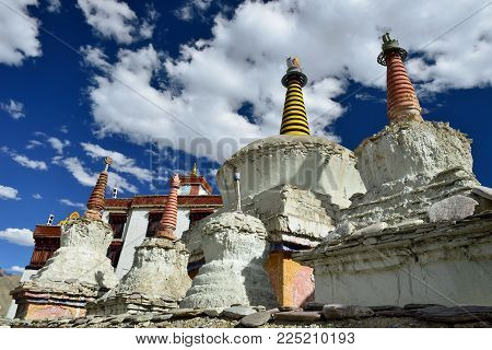 Buddhist Monastery And Stupa In The Basgo Village.