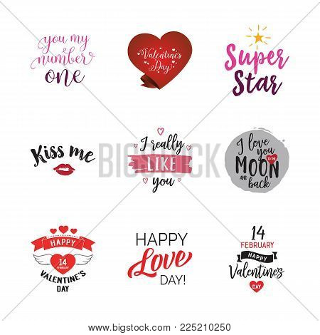 Special Valentines words lettering set. Occasion, love, sweetheart. Calligraphy, handwritten text can be used for greeting cards, posters, banners, festive designs, leaflets