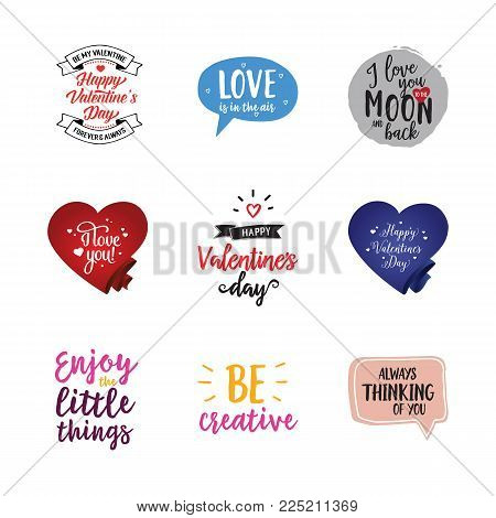 Valentines day lettering set. Love, confession, amour. Calligraphy, handwritten text can be used for greeting cards, posters, banners, festive designs, leaflets, stickers