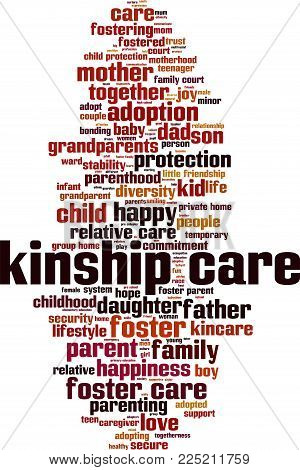 Kinship Care Word Cloud Concept. Vector Illustration On White