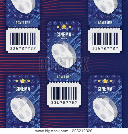 Cinema Ticket Realistic On Dark Background With Shadow. Flat Vector Illustration Eps 10.