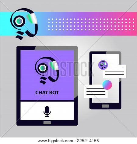 Concept of facial avatar chatbot. Sketch head robot. Sign intelligence technology. Voice service chat bot, virtual online help customer support.