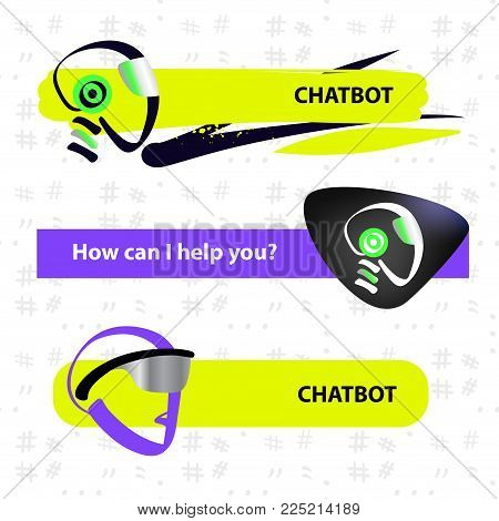 Concept of facial avatar chatbot. Sketch head robot. Template chat bot.