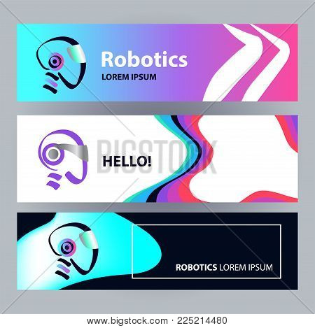 Sketch image head of abstract humanoid machine. AI logo. Concept banner with facial smart robot. Artificial intelligence technology. Graphic design trend modern logotype. Vector illustration.