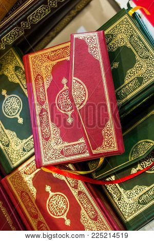 Set Of Islamic Holy Book Quran In View