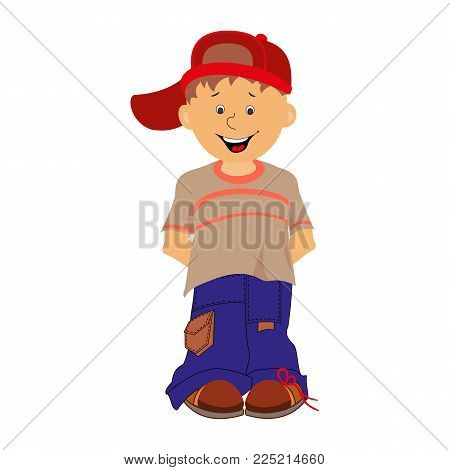 Boy. Shy little boy in jeans and a cap. Vector illustration.