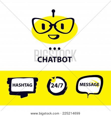 Graphic design trend modern logo. Concept of facial avatar chatbot. Sketch head robot. Voice service chat bot, virtual online help customer support. Sign intelligence technology.