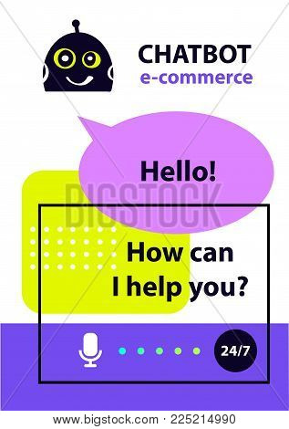 Logo e-commerce business and intelligence technology. Concept robot chatbot. Sketch head avatar. Voice service chat bot, virtual online help customer support.