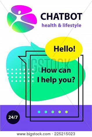 Voice service chat bot, virtual online help customer support. Concept health lifestyle robot chatbot. Sketch head avatar. Logo intelligence technology.