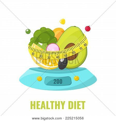 Healthy diet concept. Natural food on kitchen scales with measuring tape. Vector illustration.