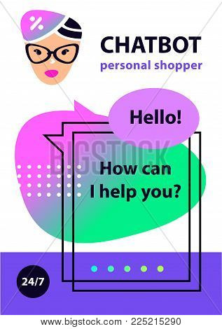 Concept robot chatbot. Sketch head avatar. Logo intelligence technology. Voice service chat bot, virtual online help customer support. Personal shopper assistant for searching sale and discount.