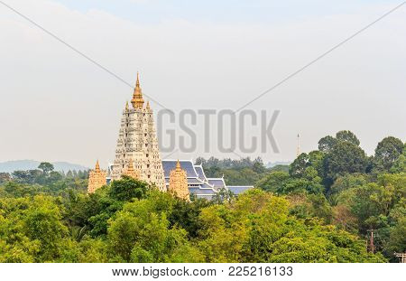 Buddhas Pagoda white, in Wat Yannasang Wararam, Buddhist Temple at Pattaya city, Chonburi province, Thailand