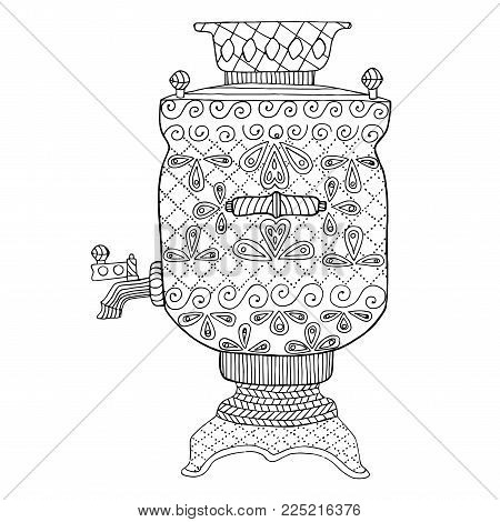Samovar vector illustration, teapot zen tangle and doodle. Coloring book for adult. Black and white