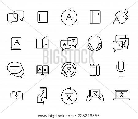 Simple collection of translate related line icons. Thin line vector set of signs for infographic, logo, app development and website design. Premium symbols isolated on a white background.