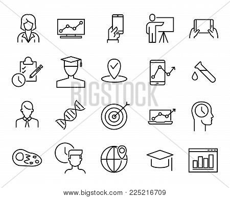 Simple collection of online education related line icons. Thin line vector set of signs for infographic, logo, app development and website design. Premium symbols isolated on a white background.
