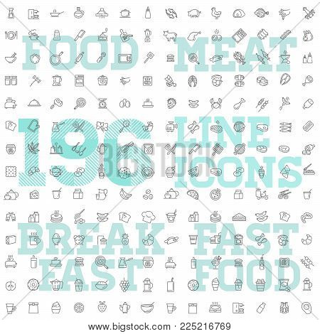 Food and drink vector linear icon set