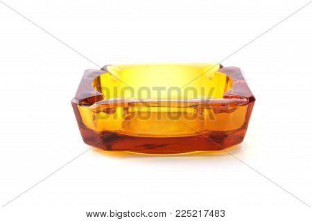 Ashtray Bronze Glasses Isolated On White Background.