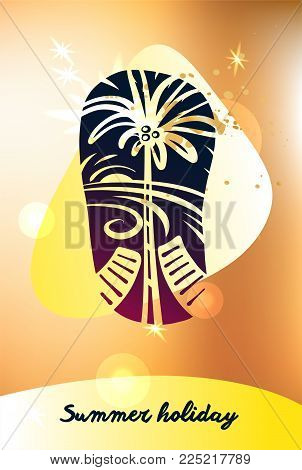 Best tour for summer holiday. Abstract palm tree, lounge and sun light. Template poster, banner, logo for travel company, agency.