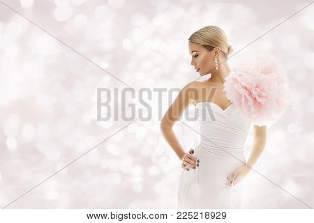 Fashion Model in White Dress, Elegant Woman Beauty Gown with Artistic Flower Decoration, Beautiful Lady Glamour Portrait