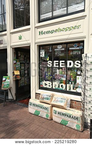 Amsterdam, Netherlands - July 7, 2017: Cannabis Seed Shop In Amsterdam, Netherlands. Marijuana Can B