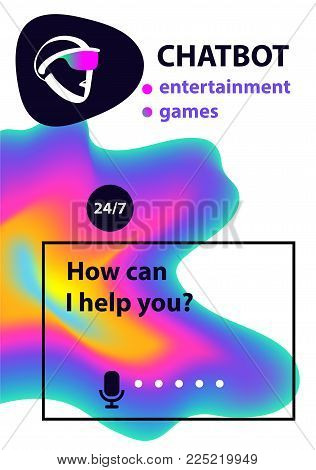 Virtual online entertainment game customer support. Sketch avatar for intelligence technology. Concept banner with head robot chatbot.  Voice service chat bot.
