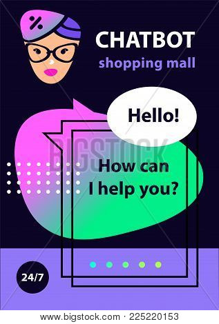 Voice service chat bot.  Virtual online shopping mall, market customer support. Sketch avatar for intelligence technology. Concept banner with head robot chatbot.  Vector illustration.