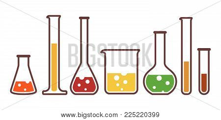 Laboratory glassware instruments multicolor icons set. Equipment for chemical lab in flat style. Beaker and flask, chemical glass for science lab. Vector illustration